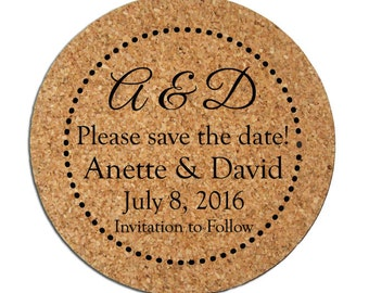 100 Custom Save the Dates Cork Coasters Custom Personalized Wedding Announcements