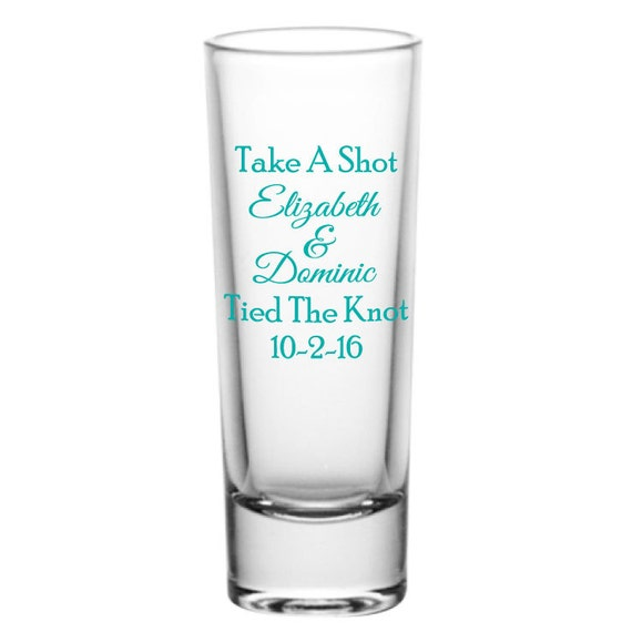 personalized 2oz tall glass shot glasses wedding favor shots take a