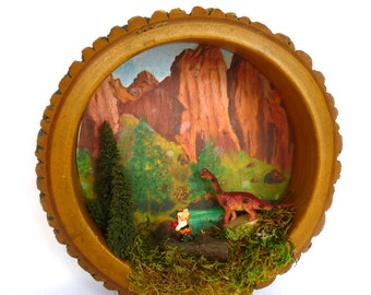 DINOSAUR and GNOME Wall DIORAMA/ Upcycled Woodland Wall Decor/ Recycled Nut Bowl