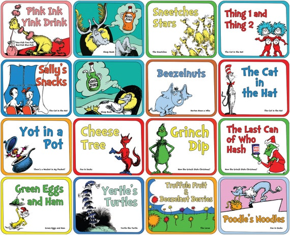 Dr Seuss Food Labels Small Set Of 16 For By