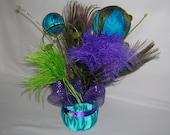 Peacock Wedding Reception Table Centerpiece