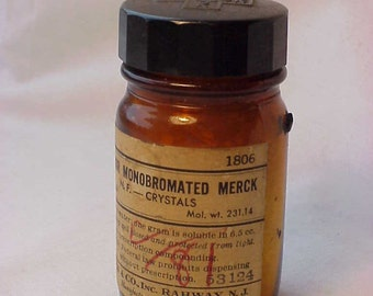 c1940s Camphor Monobromated Merck , Merck & Co. Rahway, N.J. , Medicine Bottle with Paper Label