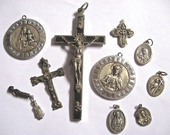 Take 20% Off RARE Collection10 Silver Metal Cross Crucifix Mary Catholic RELIGIOUS Medals
