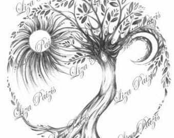 Tree of Life art print dryad tree spirit art print from the original drawing of a tree goddess