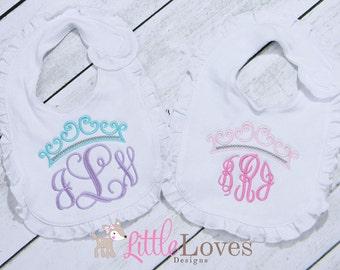Monogrammed Bib- Embroidered Bib- Ruffled Bib- Newborn Baby Girl