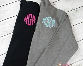 Monogrammed Pullover- Monogrammed Quarter Zip Pullover- Embroidered Pullover- Womens Monogrammed Pullover Half Zip