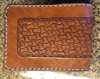 Handtooled Bifold Brown Horsehide Wallet with Montana Basketweave