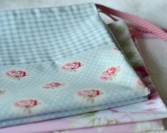 Cottage Chic Laundry Bag. Pastel Blue. Large Drawstring Bag. Sweet Rose Medallion and Gingham Print  europeanstreetteam