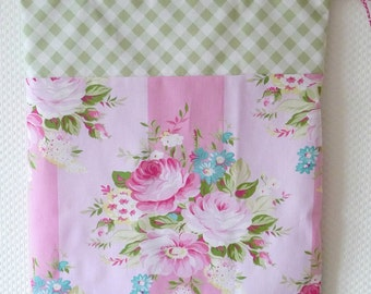 Shabby Chic Laundry Bag. Cottage Chic. Pink floral drawstring bag. Roses Stripes Gingham. europeanstreetteam