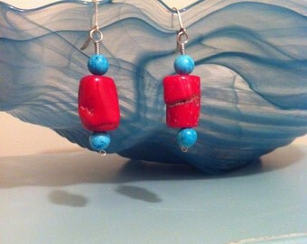 Red Coral Nugget & Turqouise Earrings
