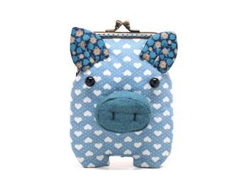 Indigo hearts piggy card holder wallet