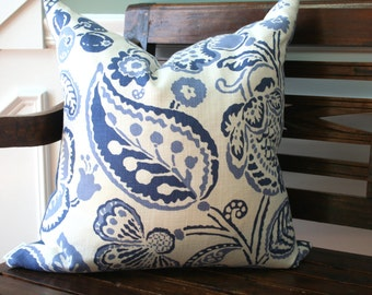SALE-Decorative Pillow Cover- 20x20- Blue and Cream