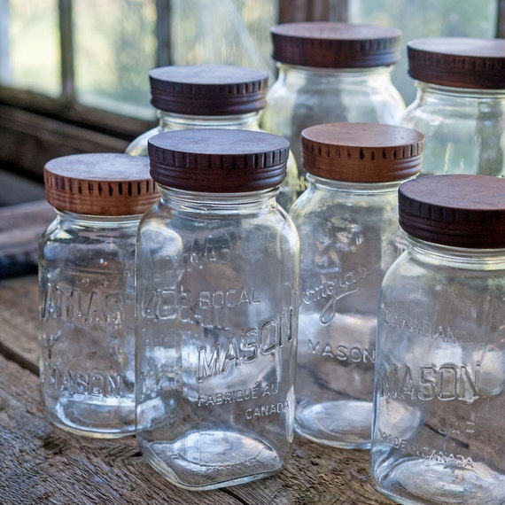 Set of 4 wood mason jar tops four wood canning jar lids for Mason jar kitchen ideas