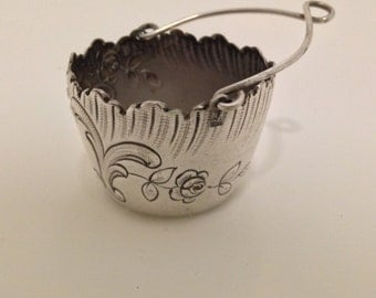 Sterling Silver Antique 1800s French Basket Tea Strainer