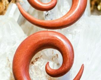 Exotic Rose Wood Spiral Gauges 6 (4mm), 2 (6mm), 0 (8mm), 9/16 (14 mm)
