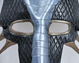 Black, Silver, and Bronze Leather Dragon Mask