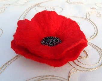 Red Poppy Pin Brooch Corsage with Black Beads, Handmade Felt Charity Donation to Royal British Legion