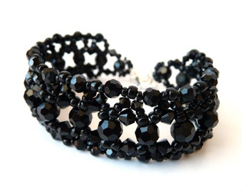 Black Beaded Bracelet, Swarovski Crystal, Costume Jewelry, Bead Bracelet, Black Cuff Bracelet, Beadwoven, Vintage Inspired, Beaded Jewelry