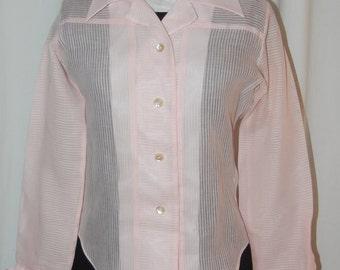 Vintage 60s blouse, pink blouse, tuxedo blouse, sheer pink blouse, shadow stripe, formal blouse, pink
