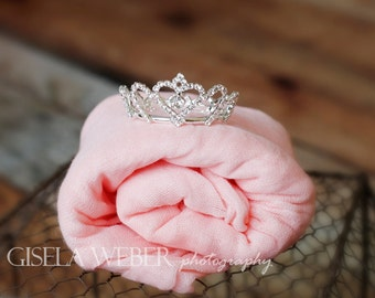 Baby Wrap Set, Silver Baby Crown, Newborn Photo Prop Girl, Newborn Wrap Set, Silver Newborn Crown, Baby Crown Set, Baby Photo Prop