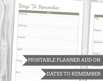 Geo Grey Dates To Remember - Planner Add On : DIGITAL FILE