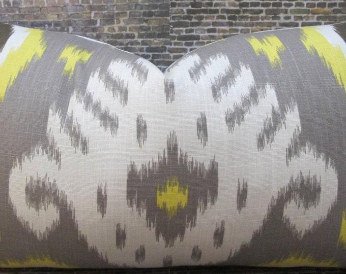 Designer Pillow Cover - Lumbar, 18 x 18, 20 x 20, 22 x 22- Dwell Studio Ikat Yellow, Taupe, Brown