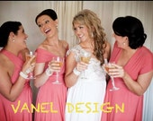 Long Convertible Bridesmaid Dress  One Dress Fifteen Styles  Custom Made Coral Choose From 50 Colors