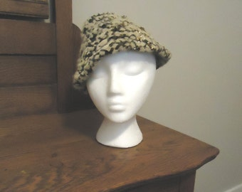 CLOSE OUT  REDUCED  Vintage Hat, Retro Hat, Derby Hat, Womens Accessories, Boho style, French vintage, Felted wool skull cap cloche hat