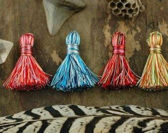 "Mini Art Silk Tassels, NEW Multi-Colored Thread, 4+ Short Handmade Tassels, Jewelry Making, DIY Craft Supply, 1.25"", You Choose Colors."
