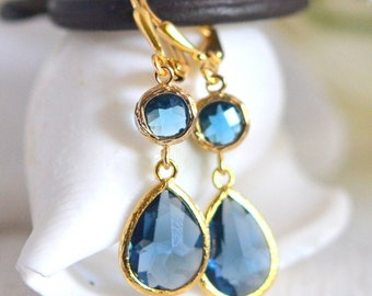 Sapphire Blue Glass Teardrop Dangle Earrings in Gold.  Fashion Gold Dangle Earrings.  Drop. Something Blue. Wedding Jewelry. Gold Earrings.