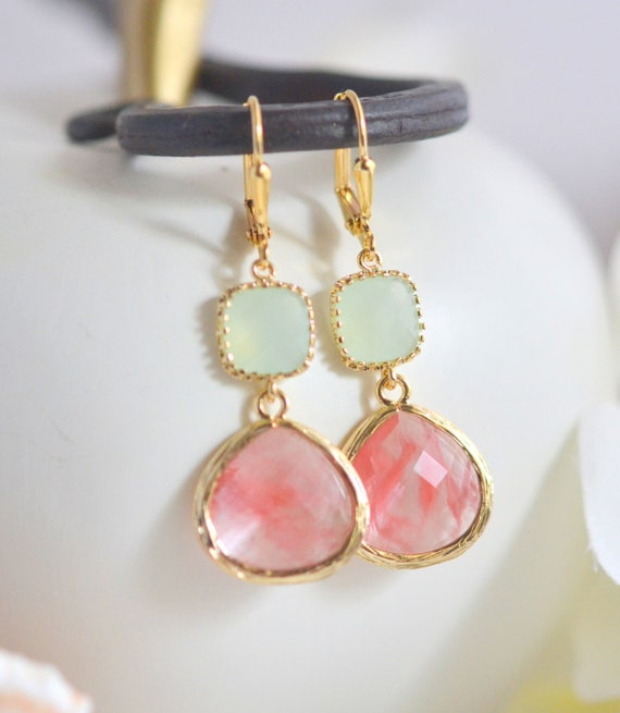 Coral, mint, & gold drop earrings