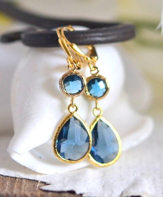 Sapphire Blue Glass Teardrop Dangle Earrings in Gold. by ...