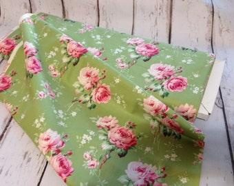 Tanya Whelan Cotton Fabric -Barefoot Roses -  Tanya Whelan-Free Spirit -Stemmed Flower-Green - 28 inches Remnant