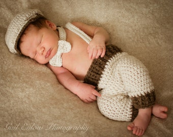 Newborn Baby Boy Coming Home Outfit, Daddy's Boy, Handmade Crochet, Golf Cap, Shorts Pants, Bowtie with Suspenders Newborn Take Home Outfit