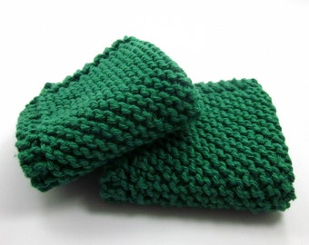 Grandma's Favorite Dishcloth, Christmas Green, Kitchen Cotton, Emerald Green, Shamrock Green, 7 inch, Wash Cloths, Cleaning, Dish Rags, Knit