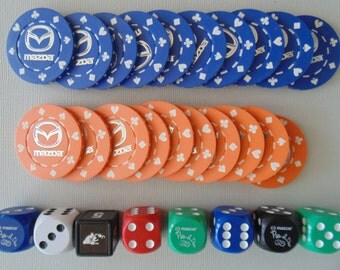 20 Clay Casino Poker Chips With 8 Dice Mazda Brand