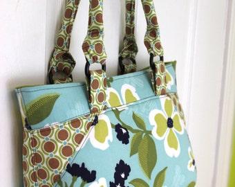 Aqua Floral Purse Handbag