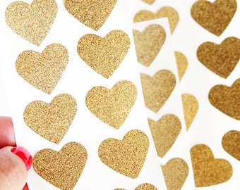 Medium Gold Glitter Heart Seal Stickers, perfect for sending happy mail and Valentine's