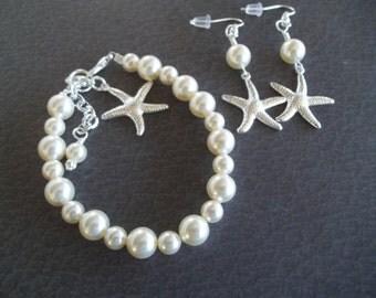Starfish Bracelet and Earrings Set,Starfish Jewelry Set,Silver Starfish Charm,Starfish Earrings,Beach Nautical Wedding Bracelet and Earrings
