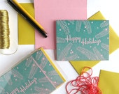 Tropical Happy Holidays on Pink Paper / Letterpress Printed Cards / Set of 6