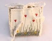 Floral Gift Box Spring garden wedding favor box tulips flower gardeners keepsake trinket box silk purse floral lillac red silk embroidery