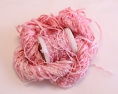 Pale Pink thread beaded yarn Silk Embroidery quilting sewing thread weaving supply seed beads fiber art embellishment Hand dyed silk ribbon