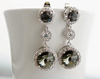 Black Bridesmaid Earrings Set of 5 Bridesmaid Gifts, Round Drop Crystal Earrings, Gray Bridesmaid Jewelry, Gray Swarovski Earrings, CZ
