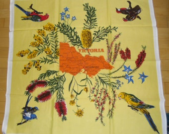Vintage Souvenir Tablecloth - Victoria Australia Tablecloth - Birds and Wildflowers - Map of Victoria Australia