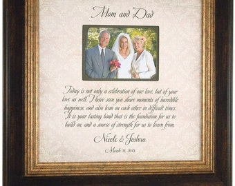 Wedding Sign Photo Frame for Parents of the BRIDE Mom Dad, Wedding Shower Gift for groom bride parents, Celebration Of Love quote, 16 X 16