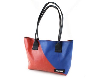 Shoulder Tote Bag made from Truck Tarp, Eco Friendly and Waterproof Shopper Bag (2.13)