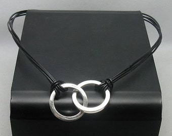 N000262 Sterling Silver Necklace Solid 925 Circle Natural Leather