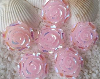 Resin Stunning AB Flower Cabochon - 20 mm - 12 pcs - Translucent Pink