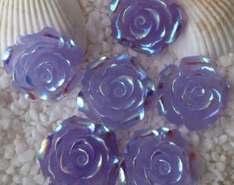 Resin Stunning AB Flower Cabochon - 20 mm - 12 pcs - Translucent Lavender
