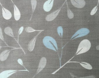 Cotton Fabric - Leaves Prints on Gray Background - 4 yards